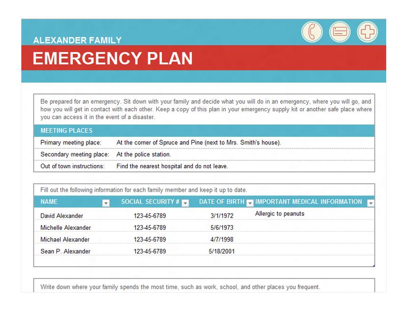 Family Disaster Plan Template from exceltemplates.net