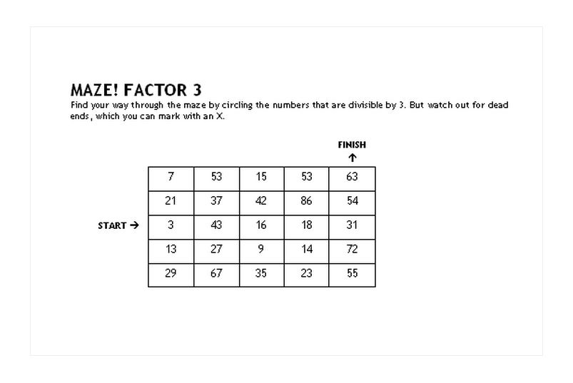 Comfortable Maths Maze Game Ideas - Printable Math Worksheets ...