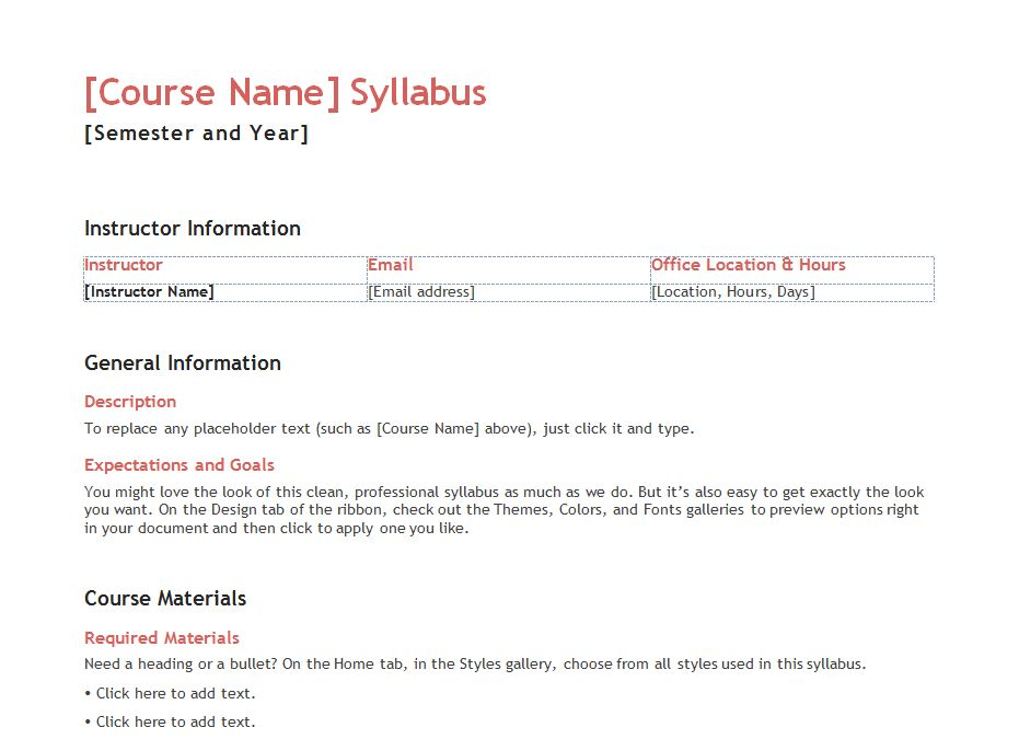 Teacher syllabus template syllabus templates for teachers for Create a syllabus template