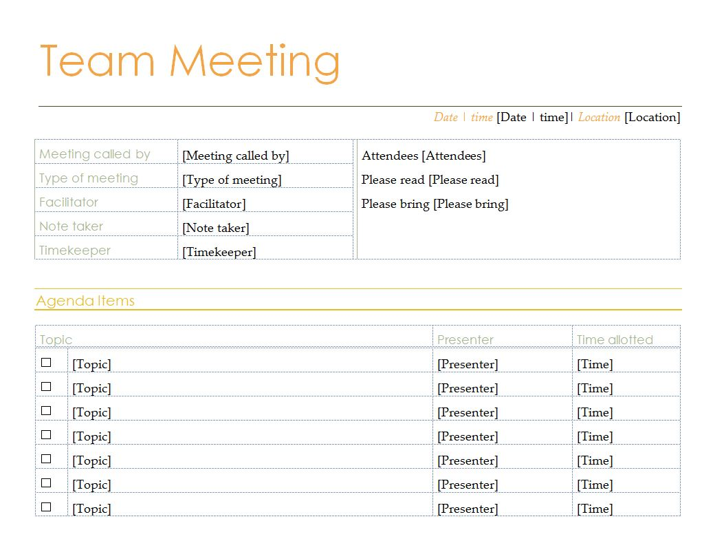 Formal Agenda Template from exceltemplates.net