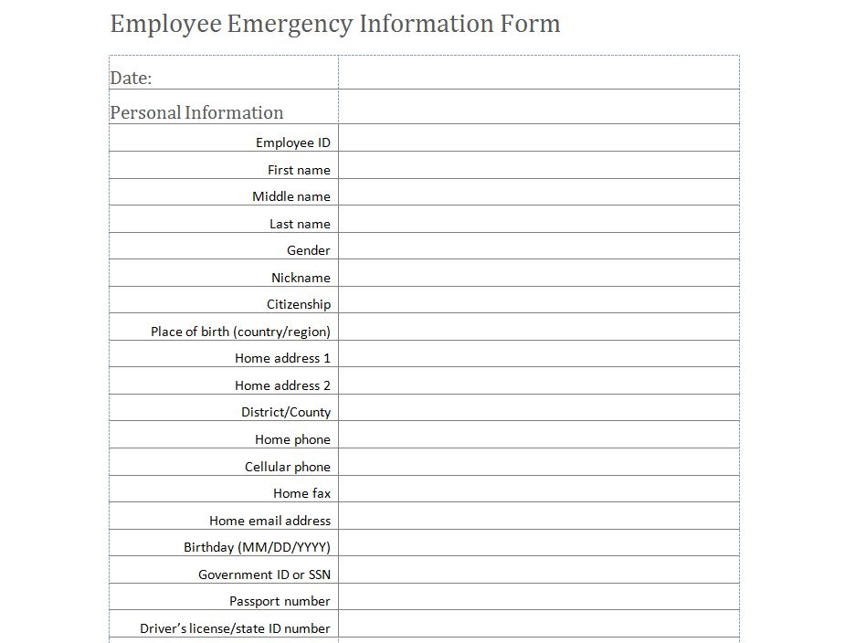 Emergency Medical Information Form – Employee Contact Information Template