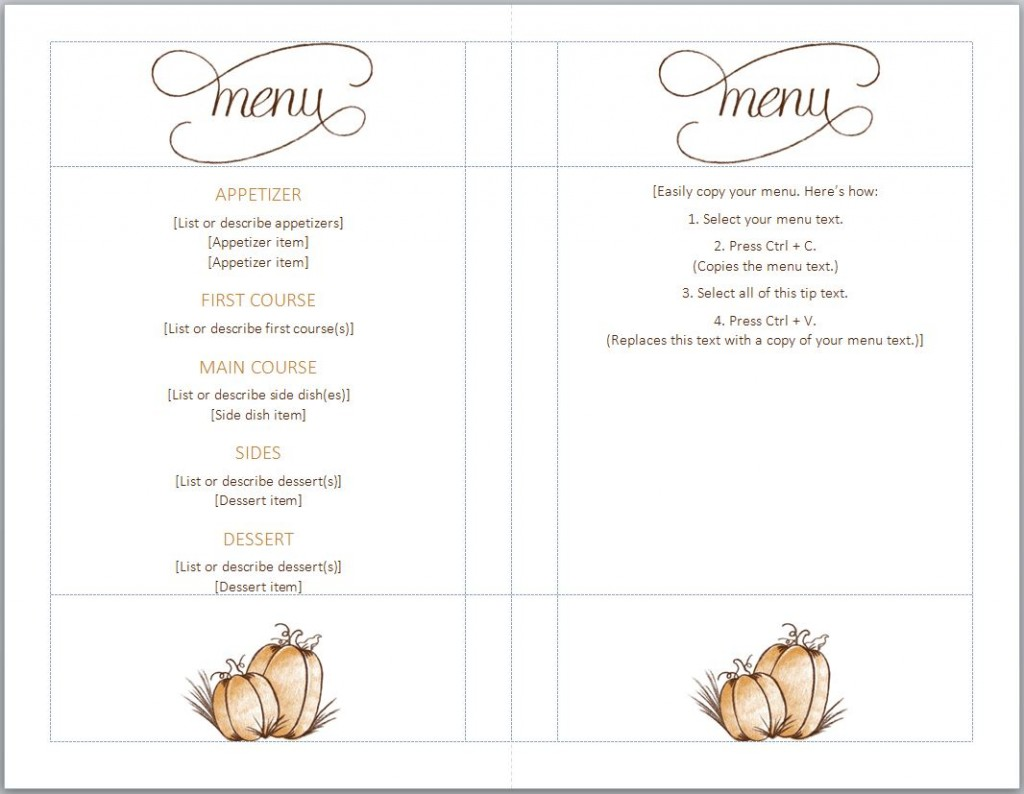 Thanksgiving menu template thanksgiving menu templates free for Menue templates