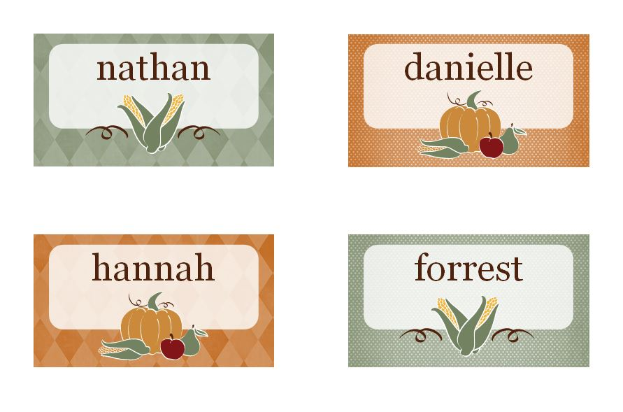 Thanksgiving Place Cards Free