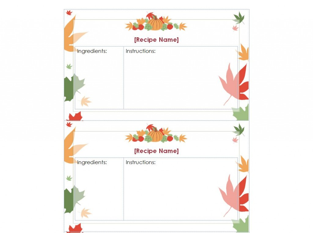 Thanksgiving Recipe Cards – Free Recipe Card Templates for Microsoft Word