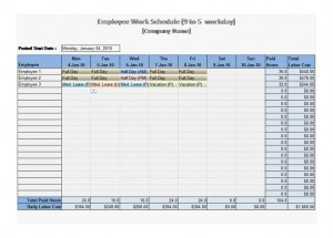 Free 9 to 5 Work Schedule Template