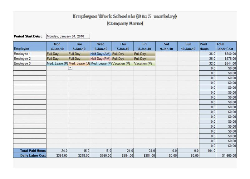 9 to 5 work schedule template
