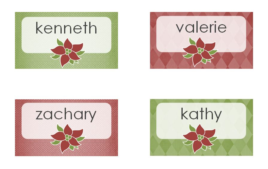 Christmas Dinner Name Place Cards Home Design - Christmas place cards template