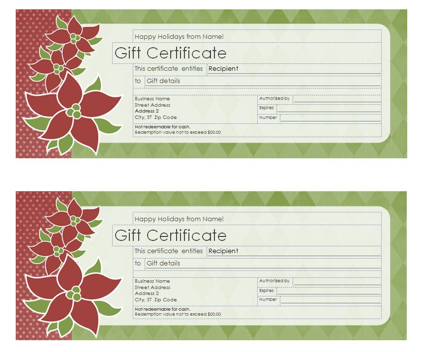 Christmas gift certificate template christmas gift for Gift certificate example templates