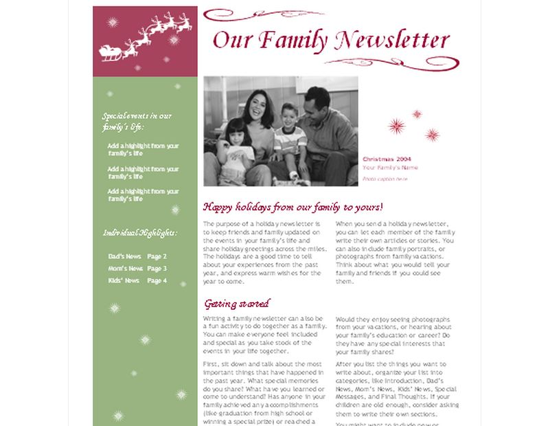 Holiday Newsletter  WowcircleTk