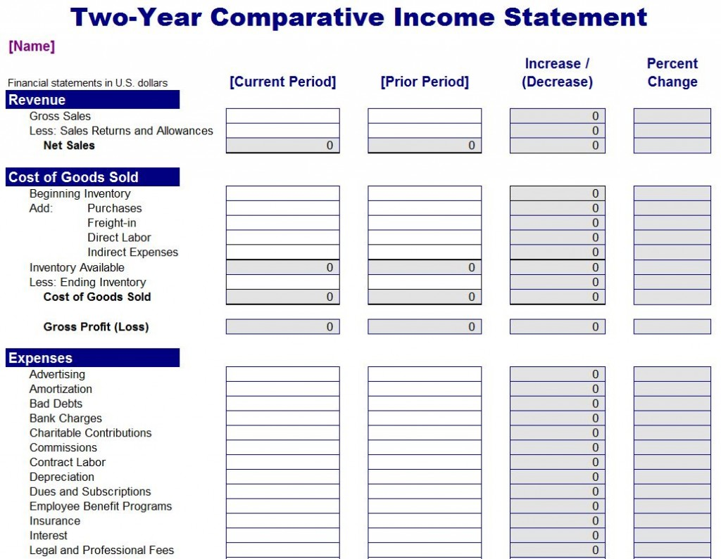 Using A Comparative Income Statement Template  Generic Income Statement