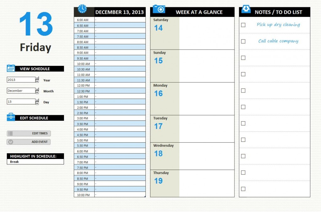 Daily Schedule Excel Template – September Printable Calendars