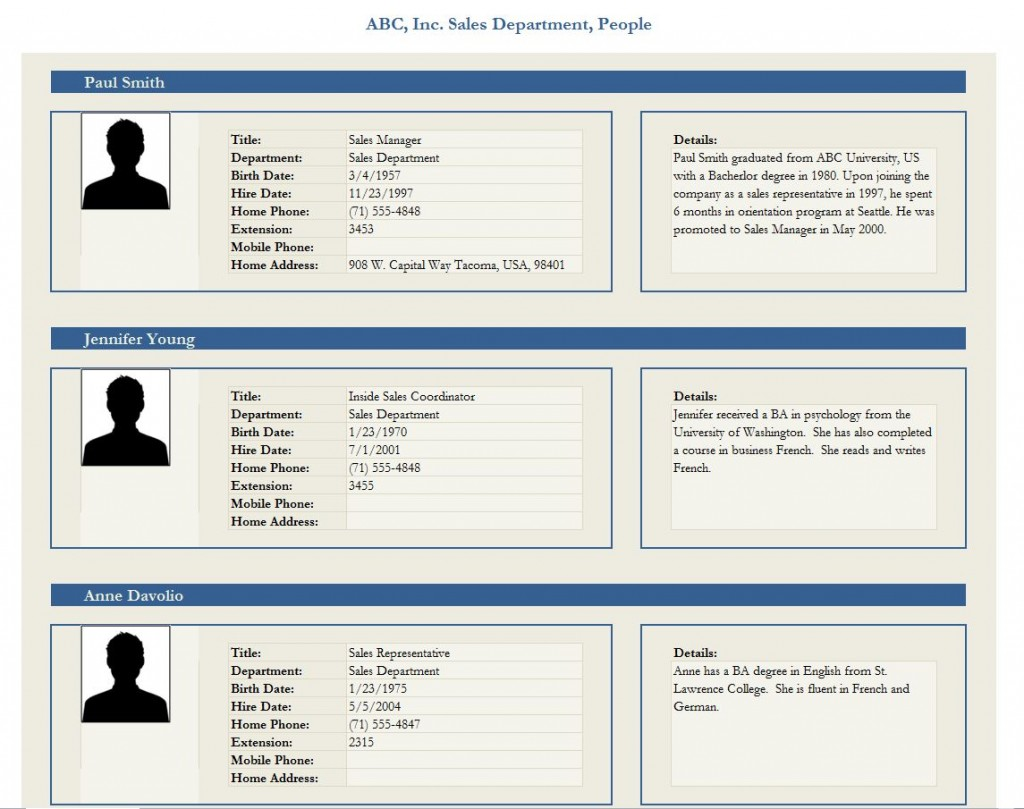 Free Employee Profile Template