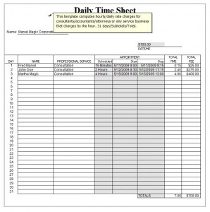 Free Excel Daily Timesheet Template