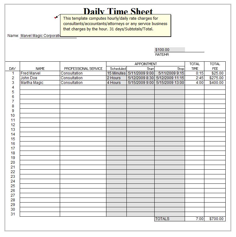 Excel Daily Timesheet Template | Daily Timesheet Template Excel