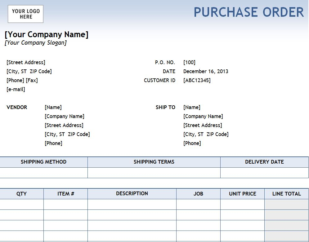 Free Excel Purchase Order Template