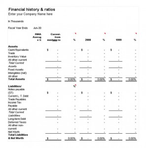 Free Financial History and Ratios Template