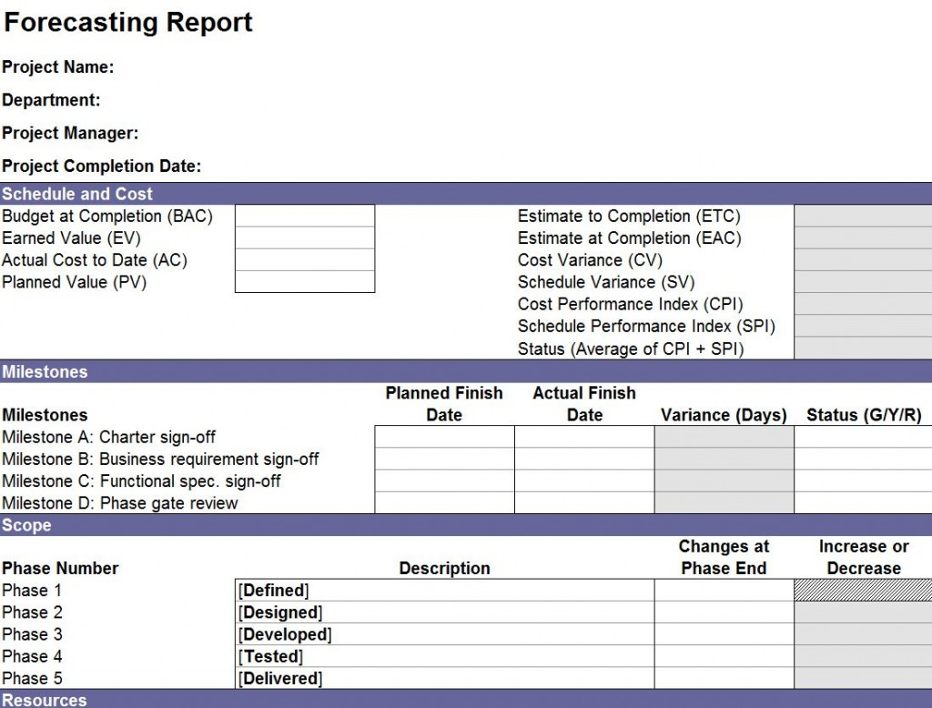 Free Forecasting Report Template