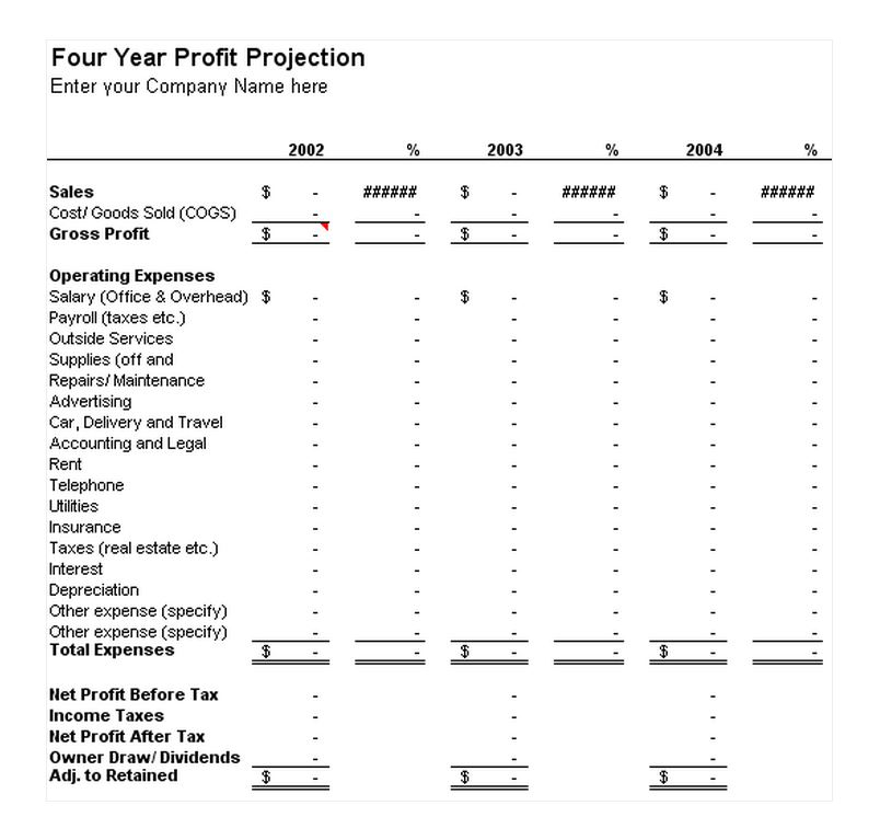 Profit and loss projection templates driverlayer search for 12 month profit and loss projection template