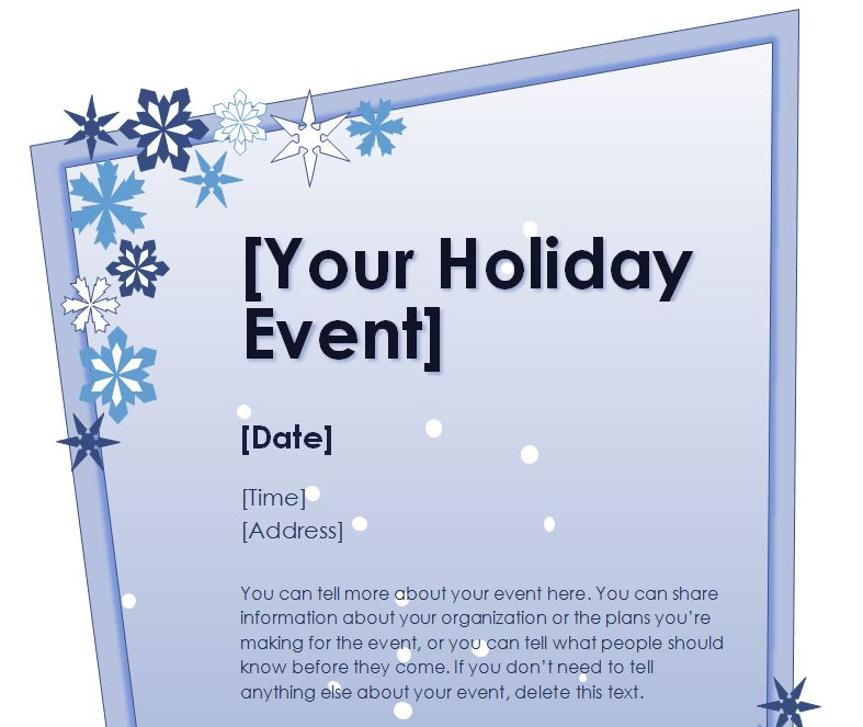 Holiday Event Flyer Template Free Idealstalist