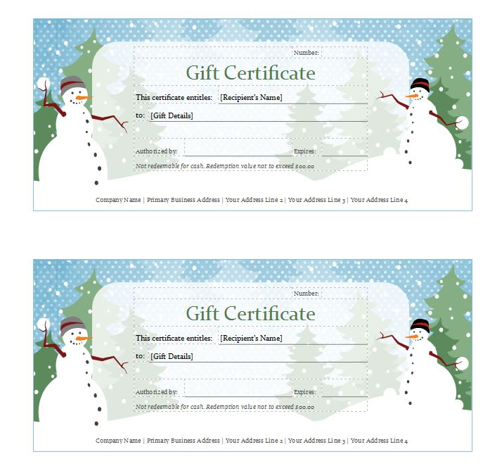 Holiday Gift Certificate Template Holiday Gift Certificates