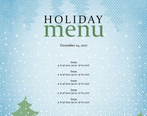 Free Holiday Menu Template