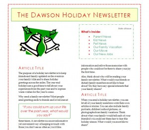 Free Holiday Newsletter Template