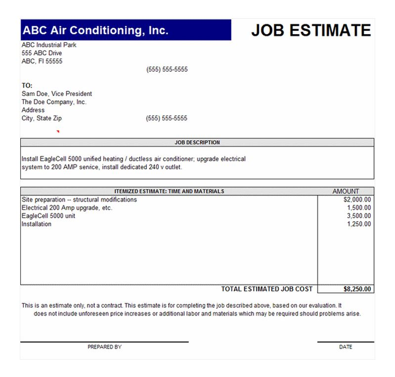 Job Estimate Template | Job Estimate Form
