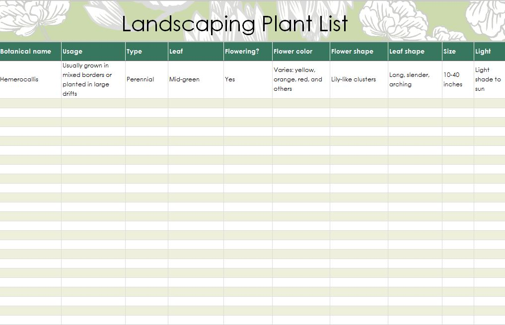 Free Landscaping Plants List