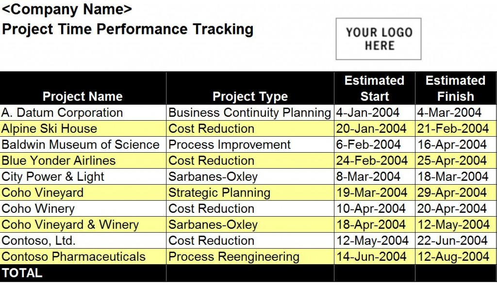 Performance Tracking Excel Template