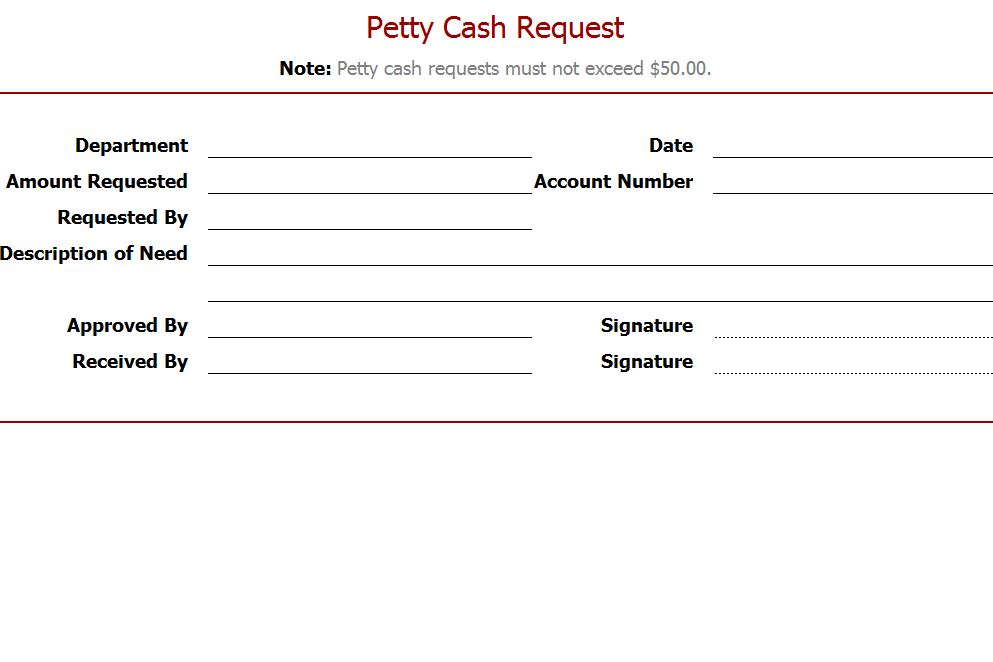 Petty Cash Request Template Petty Cash Request Form Template