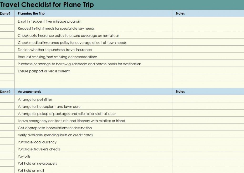 Free Plane Trip Checklist