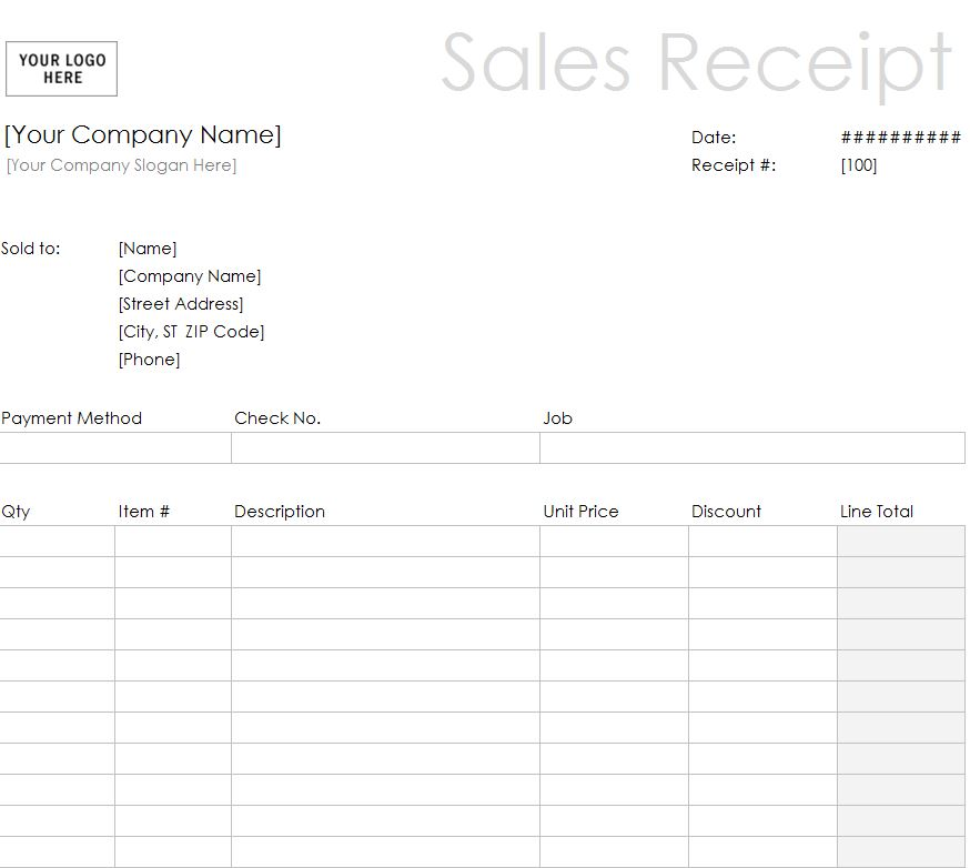 Free Printable Sales Receipt Template