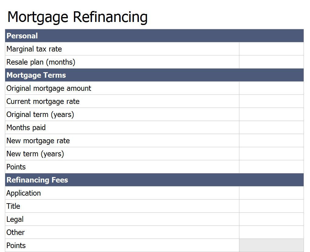 Free Refinance Mortgage Loan Calculator