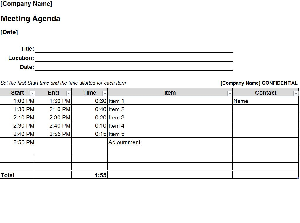 Free Staff Meeting Agenda Template