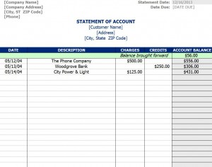 Free Statement of Account Template