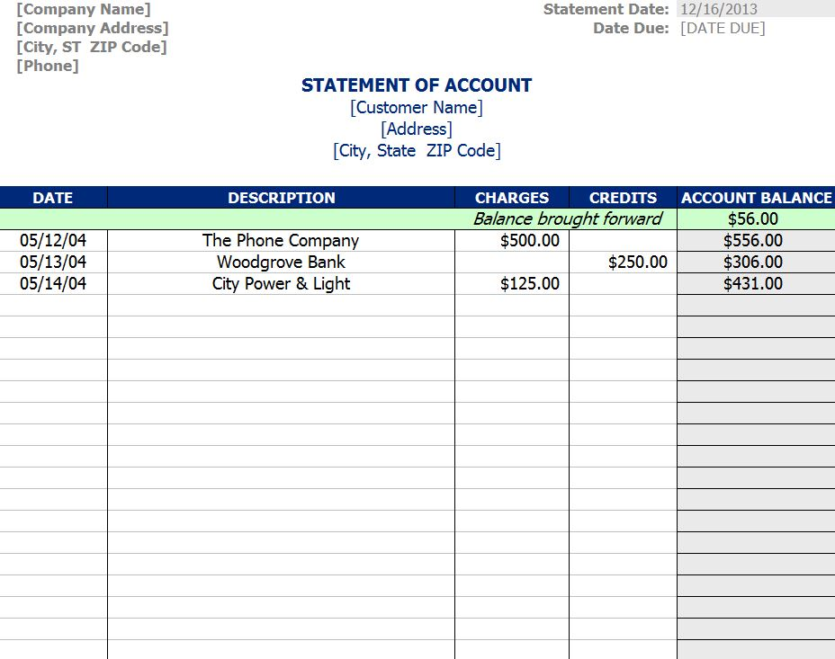 statement of account template statement of account