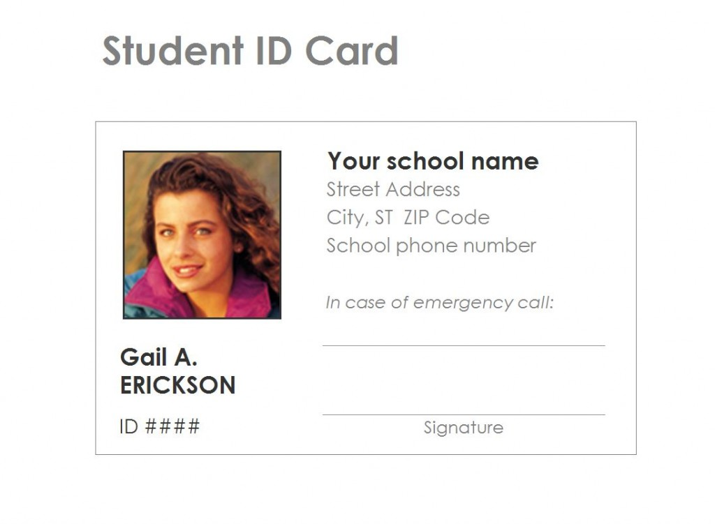 free student identification card template