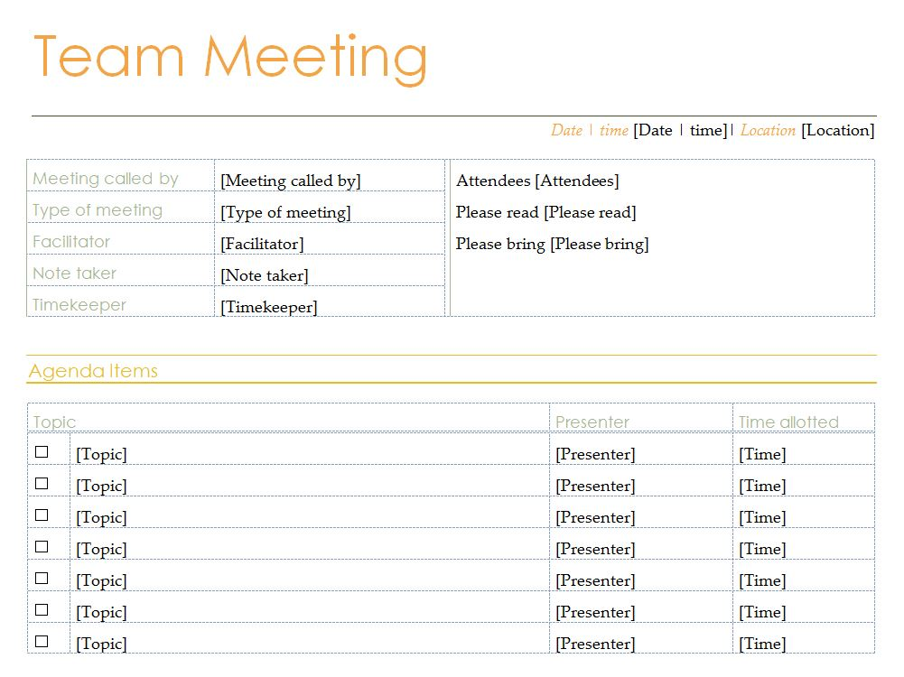 meeting agenda templates free