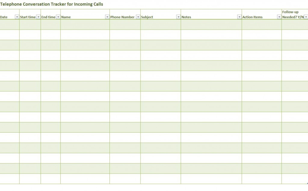 Telephone Conversation Tracker Telephone Conversation