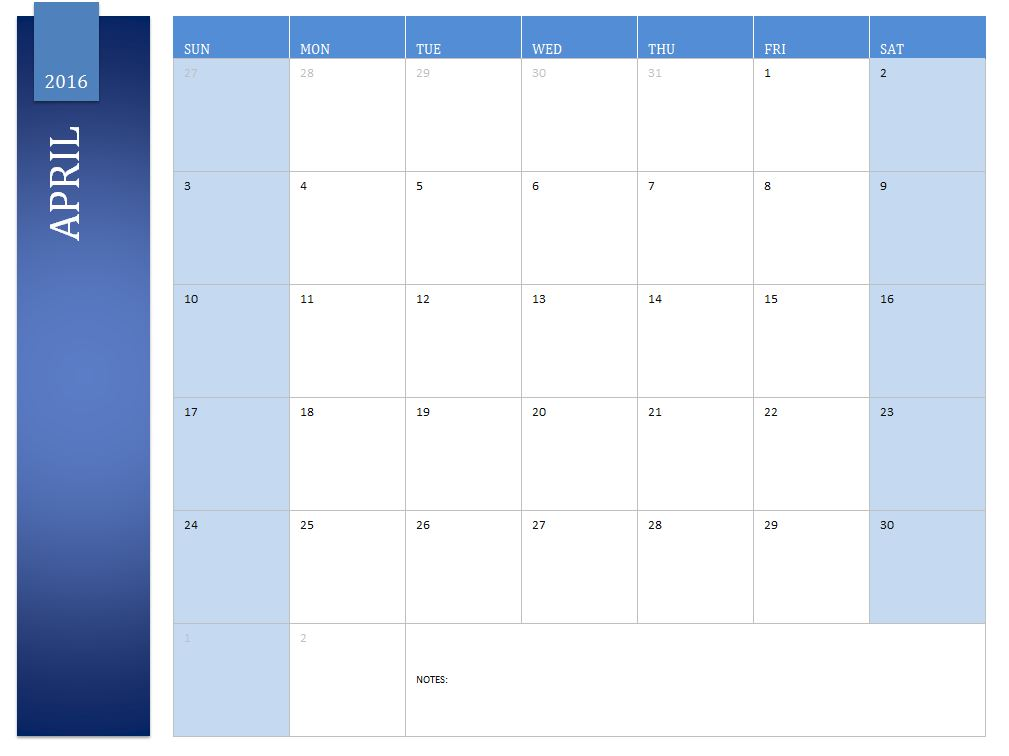 Free April 2016 Calendar