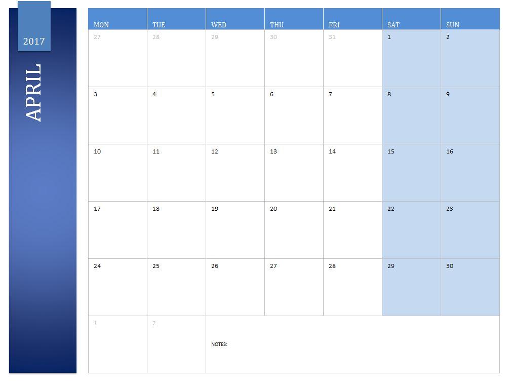 Free April 2017 Calendar