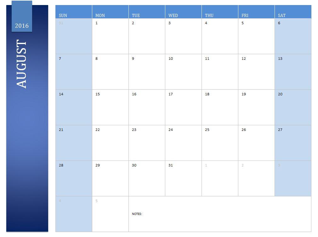 Free August 2016 Calendar