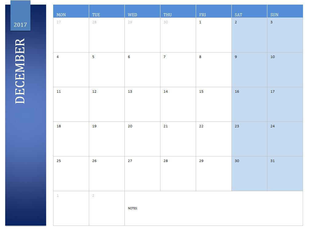 Free December 2017 Calendar