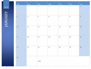 Free January 2016 Calendar