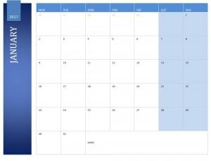 Free January 2017 Calendar
