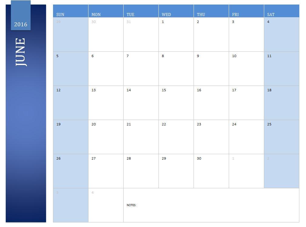 Free June 2016 Calendar
