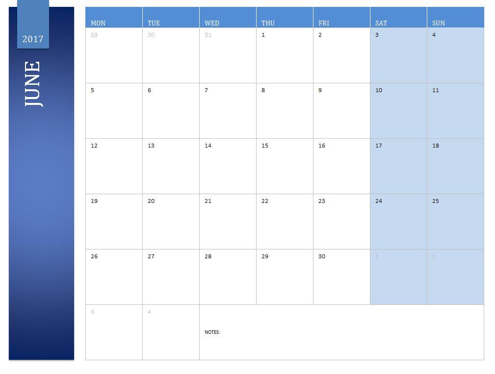Free June 2017 Calendar