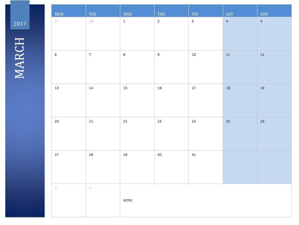 Free March 2017 Calendar