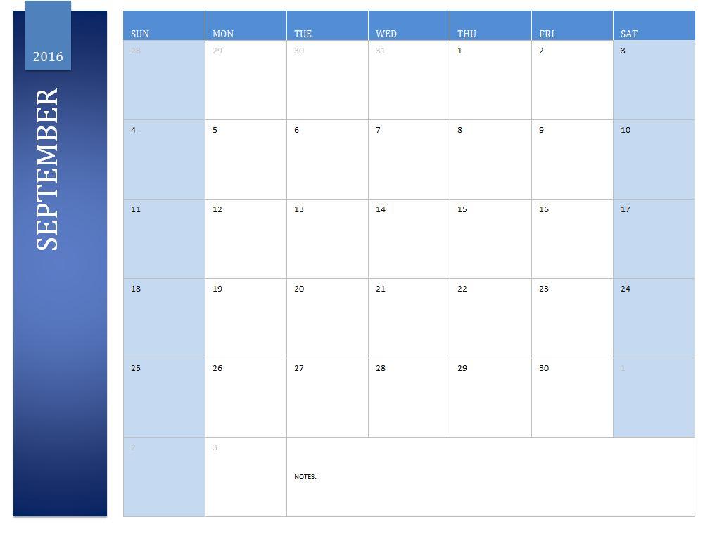Free September 2016 Calendar