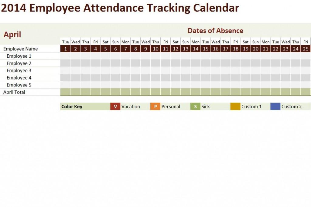 Free 2014 Employee Attendance Tracking Calendar